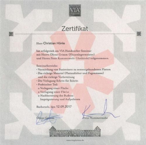 VIA Zertifikat für Christian Hönle